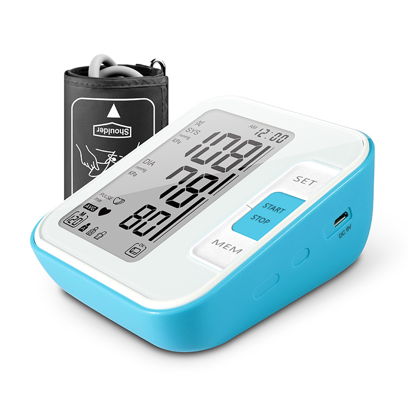Cigii Tonometer Large LCD Digital Upper Arm Blood Pressure Monitor 2 Cuff Free Adapte 120 Sets Memory Home Health Care Monitor