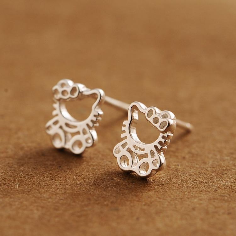 ff59946f9 925 sterling silver hello kitty hollow cartoon earrings cute Korean version  of silver earrings fashion simple woman gift
