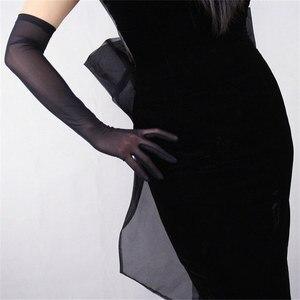 Image 2 - Zwarte Zijde Handschoenen 52 Cm Extra Lange Sectie Hoge Elastische Kant Mesh Garen Zwarte Avond Vestido De Noche Bruid Trouwen touch WWS04