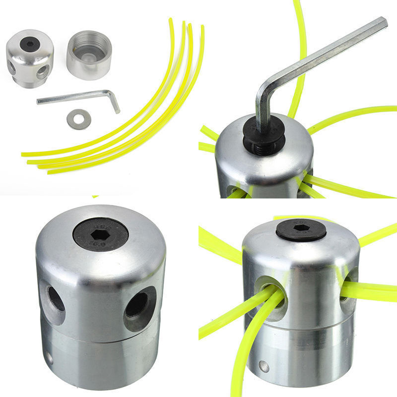 New Aluminum Grass Trimmer Head With 4 Lines Brush Cutter Head Lawn Mower Cutting Line Head Trimmer Replacement tool parts dreld metal grass trimmer head 4 lines brush cutter head lawn mower accessories cutting line head for strimmer replacement
