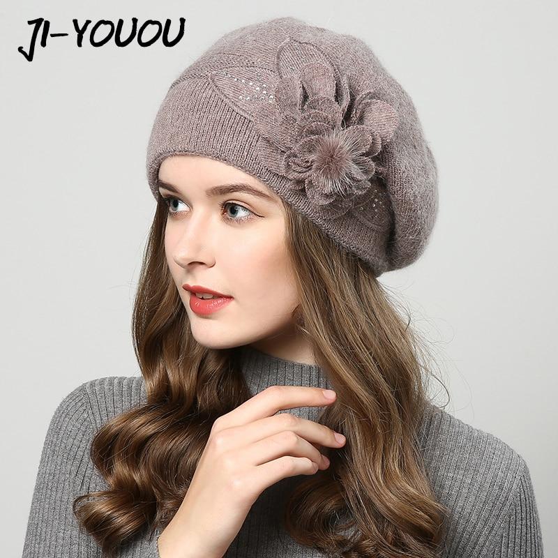 2017 sombreros de invierno para las mujeres sombrero Boinas con pasamontañas casquillo de Las Mujeres gorros sombreros para las mujeres de piel de conejo de punto beanie gorros