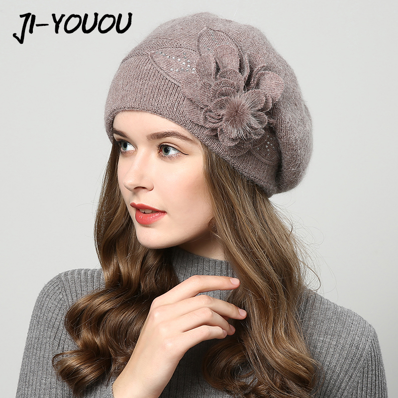 2017 winter hats for women hat Berets with balaclava Womens cap gorros rabbit fur hats for womens knitted beanie beanies