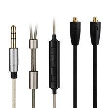 Earmax plateado del Cable del auricular con mando a distancia micrófono reemplazar alambre para Shure SE215 SE315 SE425 SE535 SE846 UE900