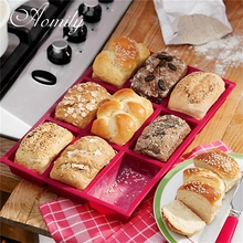 Aomily Silicone 9 Holes Bread Baking Pan Mould Tray Chocolate Cake Mould Dough Pastry Shaper Bakery DIY Baking Gadgets Helper