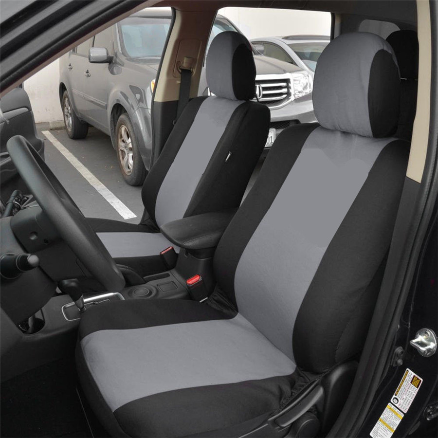 Universal 5 Seat Car Seat Covers Full Set Polyester Gray+Black Fits For Auto Truck SUV