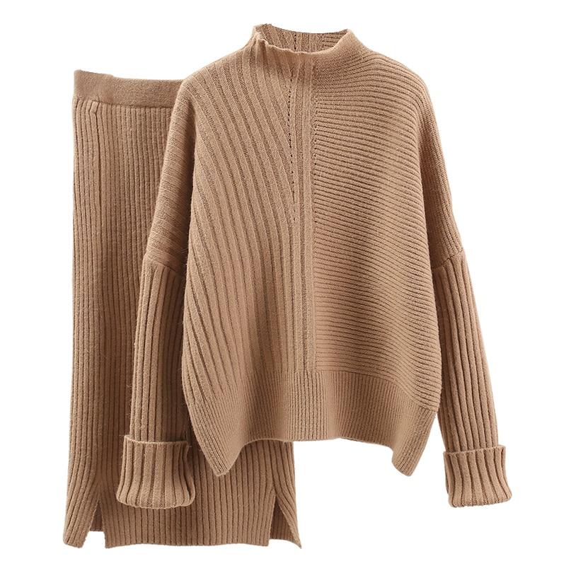 Mode femmes pull ensemble hiver automne bureau dame travail tricoté lâche pulls tout match épaissir vêtements hauts