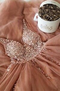 Image 4 - Женское вечернее платье трапеция, розовое длинное платье с v образным вырезом, стразами и открытой спиной, для выпускного вечера