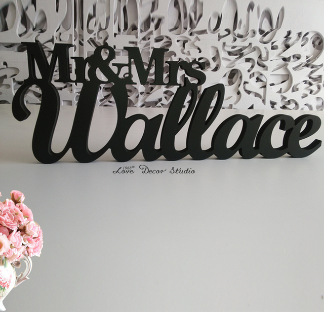 Custom Black Letter Mr And Mrs Last Name Wedding Sign