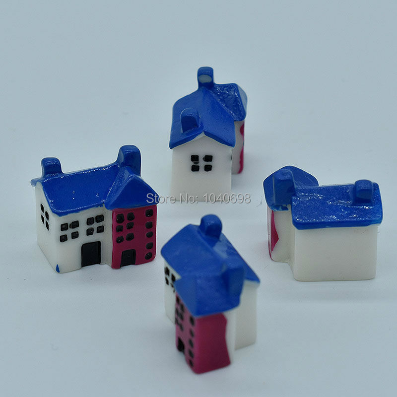 50pcs/lot Resin Solid Simulation Cartoon Country House