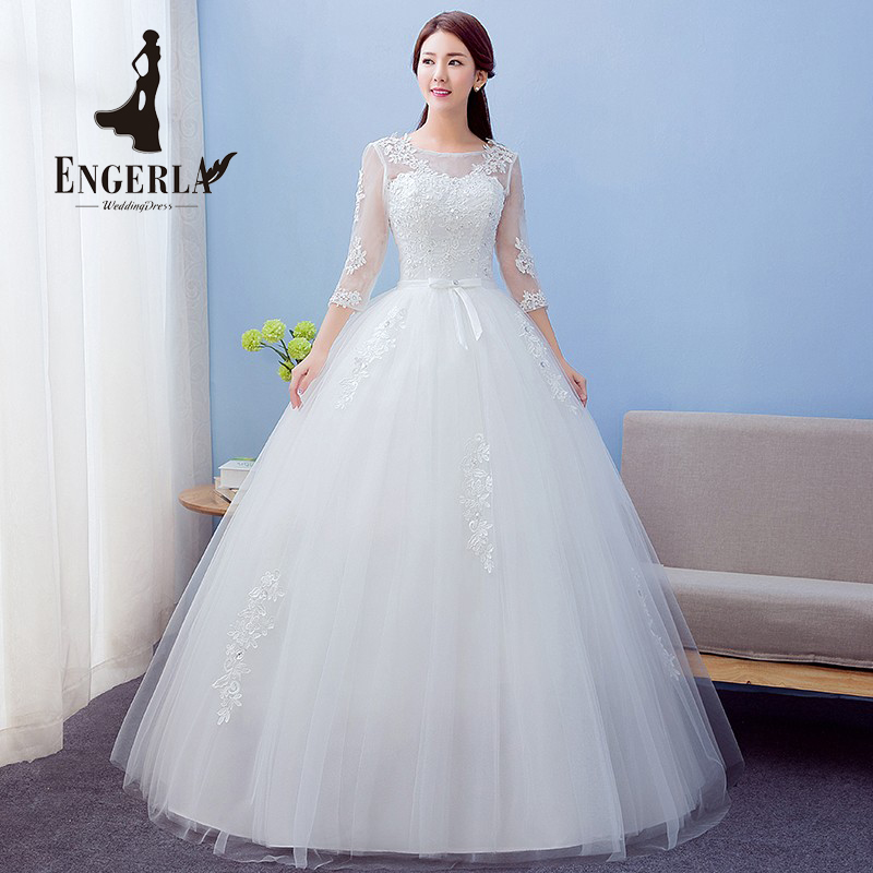 High Quality Bow Knot Lace Wedding Dress Plus Size Sweet Princess Bridal Ball Gown Three Quarter