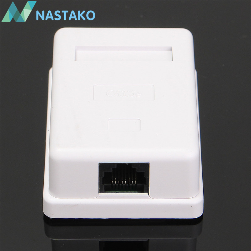 NASTAKO 2pcs/Pack Cat5 Cat5e RJ45 Wall Coupler Box Adapter 8P8C Model UTP Unshielded Single Dual Port Female Desktop Mount Boxes ...
