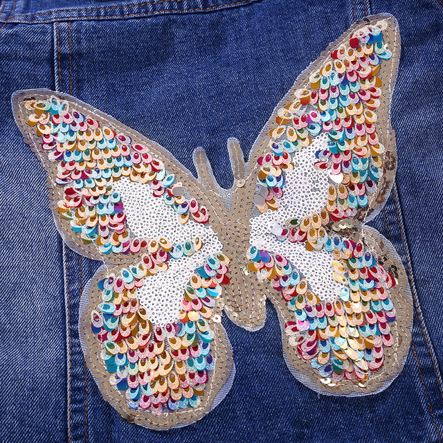 2019 Big Girls Denim Jacket Cardigan Coat kids Jean Outwear Butterfly Embroidery Sequins Children Clothing Spring Clothes