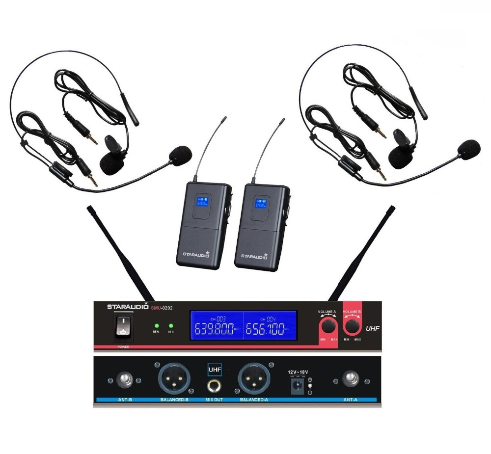 STARAUDIO SMU-0202B Pro DJ Stage Church Karaoke Dual 2 CH UHF Wireless Headset Microphone System Mic