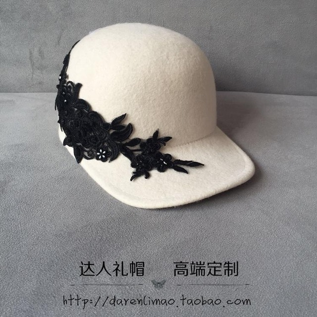 Branco boné de beisebol bordado de strass preto rosa applique cap equestre de lã elegante chapéu de moda feminina