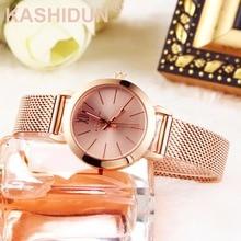 hot deal buy kashidun. women's casual quartz watches luxury wrist waterproof watches small dial mesh alloy steel bracelet relogio feminino