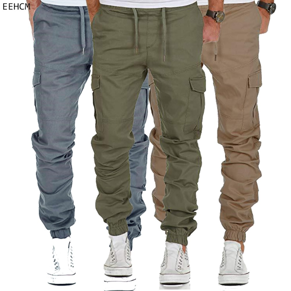 New 2019 Men Cotton Many Pockets Cargo Pants Casual Joggers Solid Color Pants Mens Trousers City Tactical Combat Military Pants