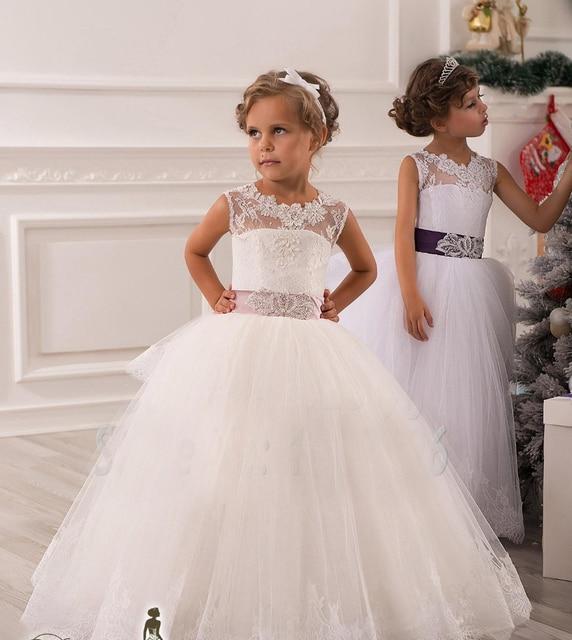 1532afe60d083 Hot Real Image Ivory White Lace Flower Girls Dresses 2016 Ball Gown Belt  Floor Length Girls
