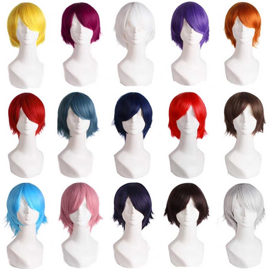 """MapofBeauty 12 """"corto recto blanco negro oro rojo marrón naranja 23 colores Cosplay pelucas pelo sintético resistente al calor Natural"""