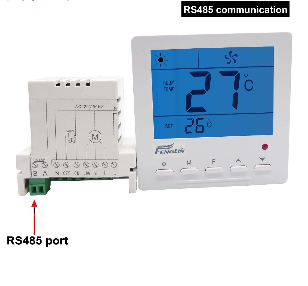 Digital MODBUS RS485 Thermostat Temperature Controller With Fan Coil Unit