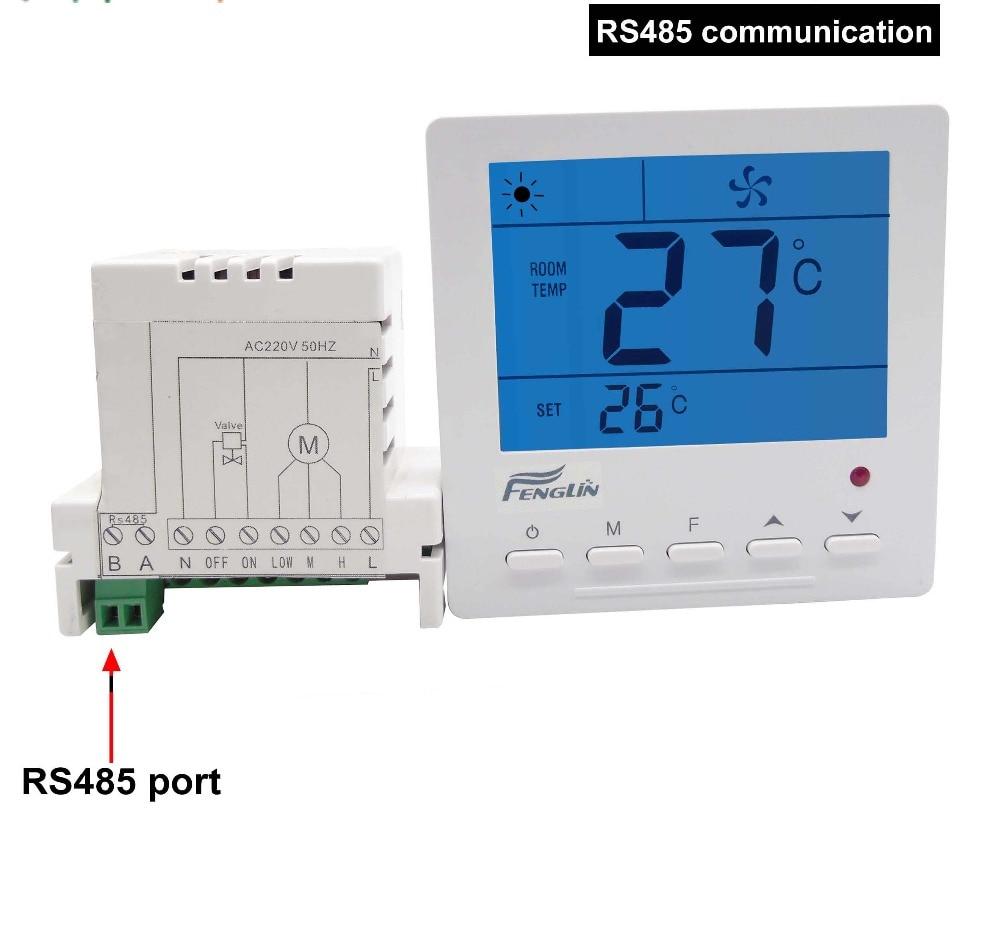 termostat pro fan coil jednotky modbus - Digital MODBUS RS485 thermostat temperature controller with fan coil unit