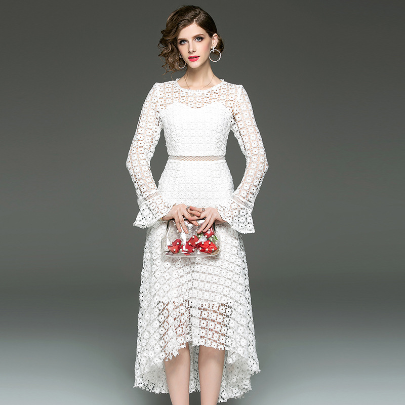 White Dress Spring Women Fashion Lace Hollow Sexy Female Party Solid Color O Neck Flare Sleeve Irregular Dress White Black