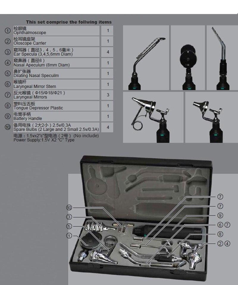 Professional Medical Diagnositc ENT Kit Ear Care Otoscope / Ophthalmoscope Multi-purpose Detect Set
