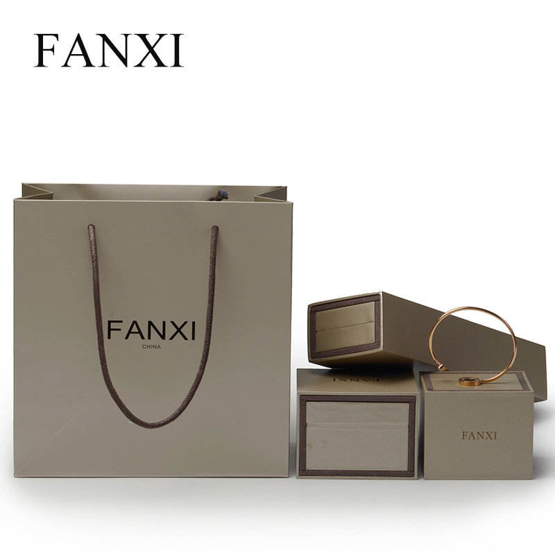 FANXI 12Pcs/Lot Silver grey Coated paper Bag with Portable rope for Packing Gift Shopping Collecting Jewelry Necklace Bags