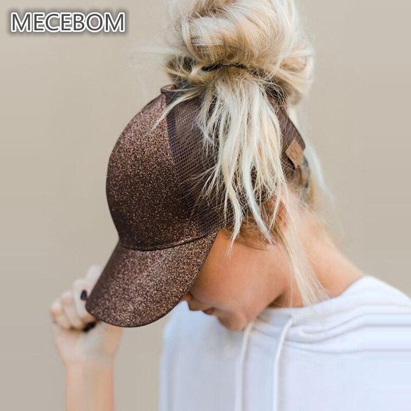 Women Adjustable Casual Ponytail   Baseball     Cap   Girls Snapback   Caps   Shine Hip Hop Summer Glitter Mesh Hats 11c