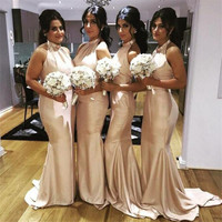 Elegant Satin Mermaid Bridesmaid Dresses 2018 Halter Backless Floor Length Simple Women Wedding Party Dress Custom Made Cheap