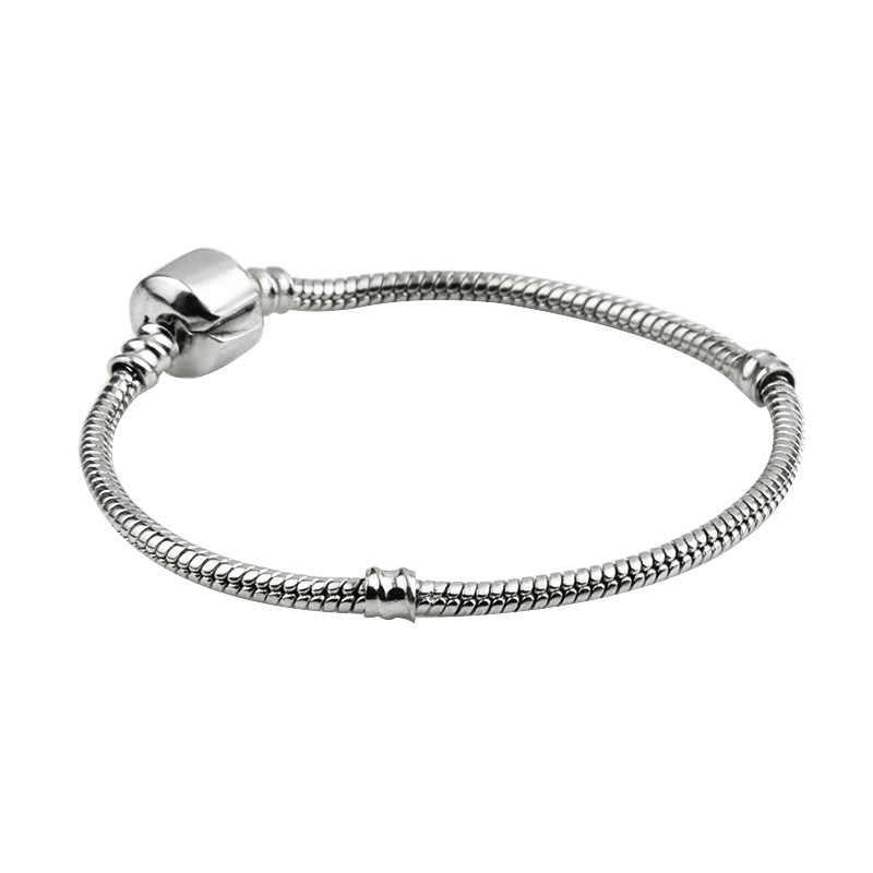 58984c0e5b9b3 Hot Silver Color Basic Snake Chain Bracelet DIY Charm Bead Jewelry NOT FADE  Original Pandoraa Bracelets & Bangles for Women Men