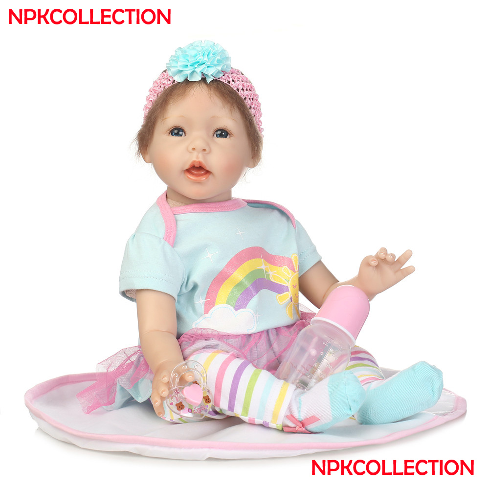 NPKCOLLECTION brand reborn babies girl dolls 2255cm silicone reborn baby dolls rooted hair with pacifier bottle Bebes reborn NPKCOLLECTION brand reborn babies girl dolls 2255cm silicone reborn baby dolls rooted hair with pacifier bottle Bebes reborn