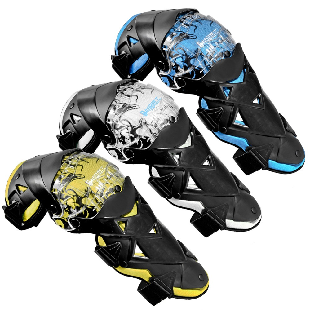 GHOST RACING Motorcycle Knee Pads Motocross Knee Protector Off Road Safety Knee Brace Protective Gear Yellow Blue Cold-Proof