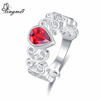 lingmei Wholesale New Comes Pear Cut Red & Olive Green & White Zircon Silver Ring Size 6 7 8 9 For Women Fashion Jewelry Gifts