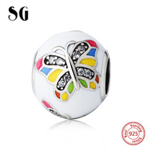SG lovely butterfly Beads 925 Sterling Silver Charms with colour enamel&CZ Fit Original pandora Charm Bracelet diy Jewelry gift sg original owl charms with cz