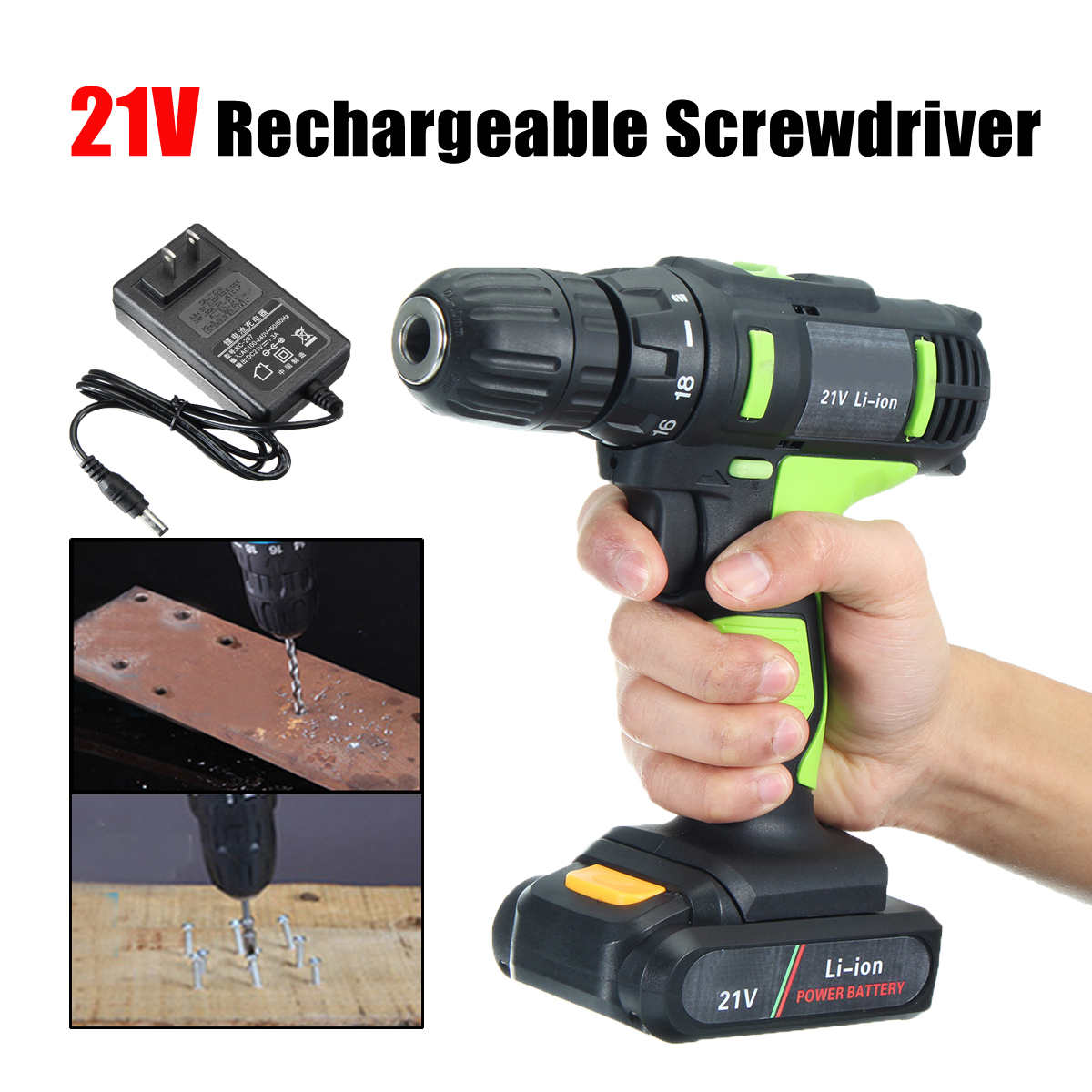 21V Li-ion Electric Screwdriver Rechargeable Electric Charging Power Drill Two Speed 30-45Nm Hand Tools