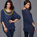 Summer Womens Cotton Tops Fashion Vintage Nail bead plus size T-shirt  Batwing Sleeve Embroidery Casual Shirt Chemise Femme 6016