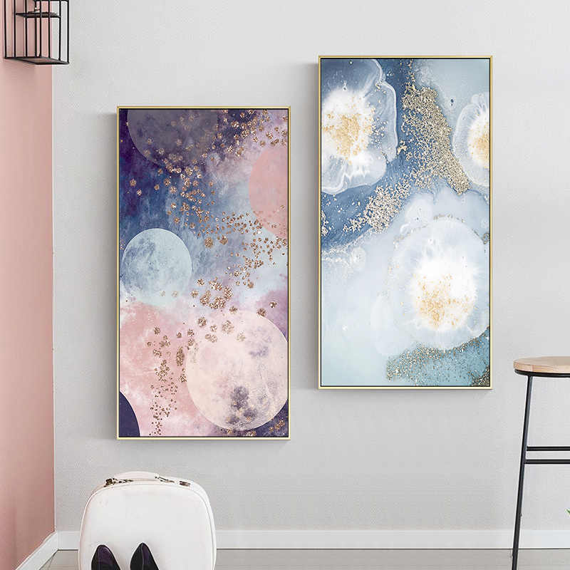 Abstract color mix marble pinky Canvas Painting Style Posters Print For Living Room Bedroom New Home Art Picture For Wall Decor