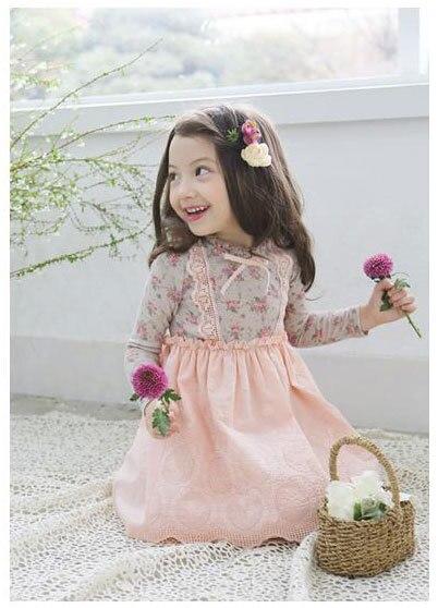 Niñas otoño vestido de moda linda impresiones florales de manga ...