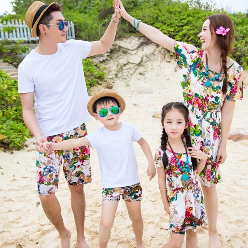 Free Shipping 1pcs Summer family matching clothes  girl mother dress girls flower Dresses father Boy t shirt pants sets Outfits
