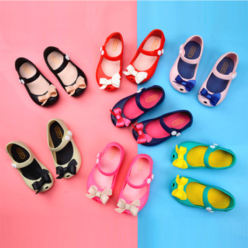 2018 New Sandals Summer Mini Melissa Children Shoes Butterfly Results Sandals Lovely Princess Flat Shoes Non-slip Kids Sandals