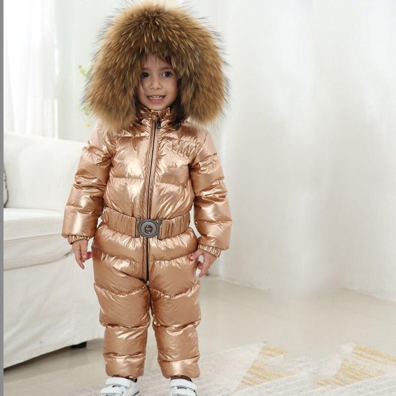 2019 New Children Thicken Warm Rompers -30 Degree Baby Outwear Windproof Snowsuit Kids Hoodie Russia Winter Down Jacket Big Fur