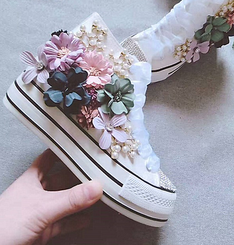 Femmes toile strass Floral perle Sport baskets plate-forme chaussures haut Top fleurs bricolage douxFemmes toile strass Floral perle Sport baskets plate-forme chaussures haut Top fleurs bricolage doux