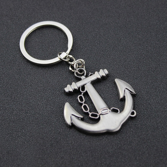 2ae7ea4ff06a Nueva Marca Vintage de ancla de plata llavero para hombres oro Retro clave cadena  anillo baratija
