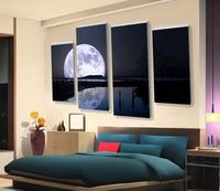 Rzucili Dekoracje Piękny Księżyc Pinted Widokiem na Morze Obraz 4 Panel Obraz Olejny Living Room Decoration Oprawione Ścianie Wisi Grafika