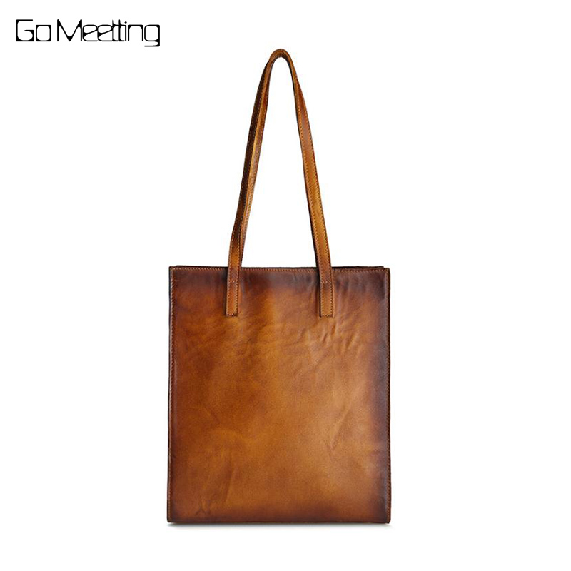 Brand Genuine Leather Women Handbag Vintage Brush Color Leather Shoulder Bag Handmade Casual Ladies Travel Tote Bag for Woman 2018 new style genuine leather woman handbag vintage metal ring cloe shoulder bag ladies casual tote fashion chain crossbody bag