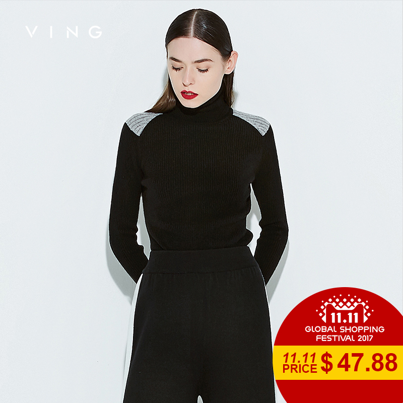 VING New Women Basic Cashmere Sweater Fashion Turtleneck Long Sleeve Solid Sweaters Lady Knitted Pullovers