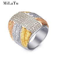 MiLaTu Exaggerated Party Rings For Women Large Wedding Cocktail Rings Gold Plated Stainless Steel Female Jewellery