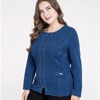 IOQRCJV 2019 autumn Jacket for Women zipper Solid Loose Casual Blue Fashionable thin Women Coats Female Denim outwear Q59
