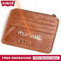 KAVIS Brand Genuine Leather Card Holder Multifunctional Zipper Fashion Diy Gift For Men ID Card Wallet