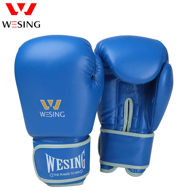 0156102ff ... Wesing Professional 8-16oz Boxing Gloves Sanda Training Competition  Adult Punching Mitts Black luva Muay ...